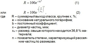 зерновые составы цементов подчиняются уравнению Розина-Раммлера
