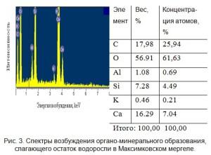 Спектры возбуждения органо-минерального образования, слагающего остаток водоросли в Максимковском мергеле